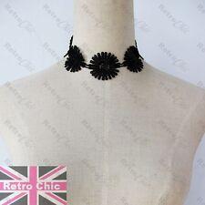 GOTHIC black WIDE LACE DISC CHOKER gold chain SHORT NECKLACE vintage victorian