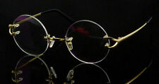 Luxury Titanium Rimless Eyeglasses frames Eyewear Glasses Silver Round Gold