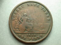 Canada Quebec 1852 Deux Sous Province One Penny Token
