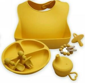 Yellow Silicone Baby Feeding Set; 6pc bib, plate, utensils, cup cover, pacifier