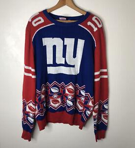 New York Giants Eli Manning 10 Ugly Christmas Sweater Mens XL NFL Team Apparel