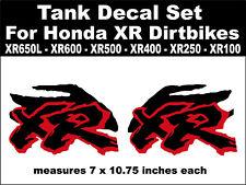 Tank decals for Honda XR650L XR600 XR500 XR400 XR250 XR100 dirtbikes  rd & bk