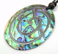 Natural Spiral Paua Abalone Shell Pendant Adjustable Cord Necklace Jewelry CA198
