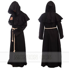 Medieval Renaissance Robe Monk Cowl Friar Clothing Priest Hooded Black Costume