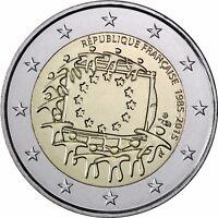 Frankreich 2 Euro Münze 30 Jahre Europaflagge 2015 Gedenkmünze prägefrisch