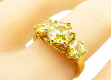 ROSS SIMON 925 Silver - Yellow Topaz Gold Plated 3 Stone Band Ring Sz 9 - R13123