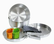 NEW CAMPING COOKWARE EQUIPMENT 7 PIECE SILVER COOK SET