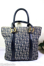 Vintage Christian Dior Navy Blue Dior Monograms Small Tote Handbag Bag