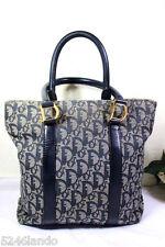 Vintage Christian Dior Navy Blue Dior Monograms Small Tote Handbag Bag