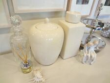 Pair of Large Ceramic Cream Crackled Effect Canisters / Urns / Hamptons Style
