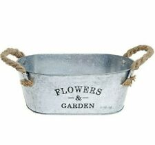 Small Metal Succulent Plant Container With Twine Handles Flower Garden Bucket