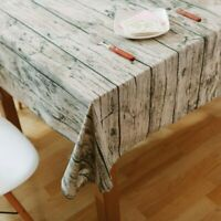 Table Cloth Wood Grain Pattern Decorative Cotton Linen Dining Room Table Cover