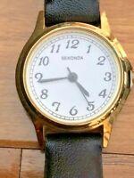 Retro Contemporary Sekonda Quartz Ladies Watch NK4134 Chic Black Leather Strap