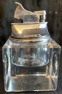 Vintage Square Crystal Clear Glass Table Lighter Rare Estate Find L@@K