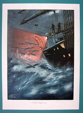 FLYING FISHES Boat at Sea Stormy Waters - COLOR VICTORIAN Era Print