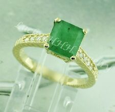 14k Solid Yellow gold Natural Emerald & Diamond  Ring 2.40 ct  size 5 to 8