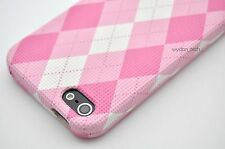 For iPhone 5 5S SE Pink White Cute Argyle Plaid Case Hard Snap On Textured Cover