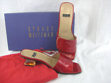 Stuart Weitzman Red Quasar Patent Leather Slide Mule Shoe Heel Size 5M Box & Bag
