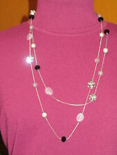 multi strand silver black disco Lane Bryant Nwt $25 women's necklace