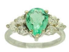 1,80ct Colombiano Smeraldo E Diamante Anello A Grappolo in 14K Oro Bianco