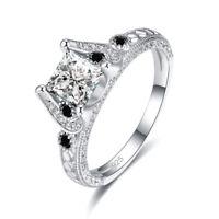 Fashion Jewelry White Topaz & Amethyst Gemstone 925 Silver Ring Size L N P R NEW