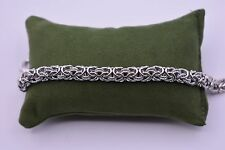 Italian Diamond Cut Byzantine Bracelet 14K White Gold Over Sterling Silver 925