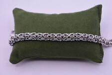 Italian Diamond Cut Byzantine Bracelet 14K White Gold Over Sterling Silver 925