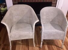 TWO Vintage Lloyd Loom Wicker Chairs 1940's Original Lusty Label NJ Pickup Only