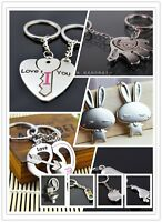 Cute 3D Love Couple Metal Lovers Car Keychain Keyring Key Chain Xmas Gift