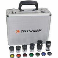 "NEW Celestron 1.25"" Eyepiece Kit Colored Filters + Moon + Barlow Lens Metal Case"