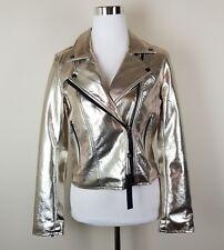 NWT BLANK NYC Women's Sz S Gold Metallic Moto Jacket Vegan Faux Leather C1373