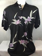 New BOBBY CHAN Men's Hawaiian 70% Silk 30% cotton Button Down Floral Shirt Large