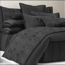 Solid Black KING Duvet Cover & Pillow Embroidered Donna Karan Shadow Floral $880
