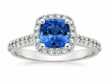 Sapphire & Diamond Engagement Ring 14k White Gold 2.00 Ct Size 5
