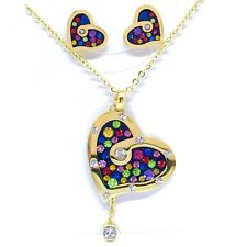 Retro Art Deco Style Necklace Pendant & Earrings CZ Crystals Jewellery Set Gift