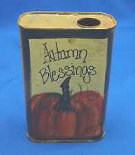 Autumn Blessings hand painted pumpkin on pint tin can fall harvest decoration