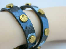 Tory Burch Designer  snake embossed Leather Double Wrap Logo Stud Bracelet  RARE