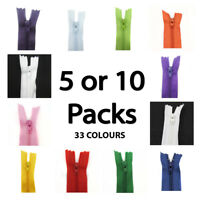 8 INCH No.3 CLOSED END NYLON ZIPS *35 COLOURS* PACK OF 5 or 10 HABERDASHERY SEW