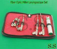 New Fiber Optic Miller Laryngoscope Set (LED Light) White Set of 6- A+QUALITY