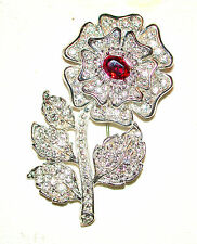 BUTLER & WILSON DIAMANTE WHITE FLOWER GRIPOIX RED CENTER VINTAGE PIN BOOK PIECE