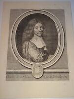 Claude DUFLOS (1665-1727) Grande Gravure XVII PORTRAIT DUC DE LA MEILLERAYE 1700