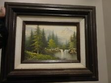 Signed Original Oil Painting Landscape on 5 X 7 Canvas Framed Hecho En Mexico