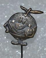 """Spain Espana 82 FIFA Football World Cup Soccer Mascot Naranjito vtg pin """"silver"""""""