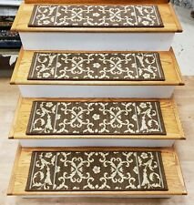 "Brown Floral Carpet Stair Tread Set of 15 Wool Blend Non Slip 30"" x 9"" Rug Depot"