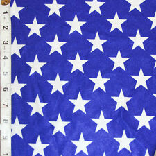 Royal Blue White Star Shiny Polyester Spandex Lycra Fabric Quality 4-Way Stretch