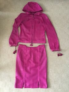 GIANNI VERSACE Leather Pink Perforated Hooded Jacket Skirt Suit, UK 08