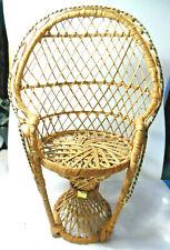 Wicker Rattan Miniature Peacock Fan Back Doll Chair Plant Stand Boho