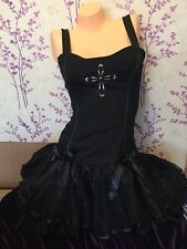 Rave Boned Corset Zip Dress Gothic Punk Lace Frill Skirt Lolita Party Women SALE