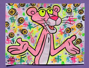 Will $treet original painting / Gallery300 Art street pink panther banksy money