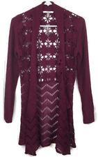 Liz Claiborne NY Crochet Cardigan Open Drape Front Floral Dark Berry Size XXS